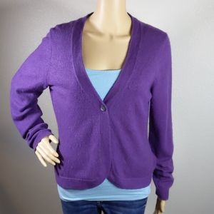 CHARTER CLUB PURPLE  2-PLY CASHMERE CARDIGAN M